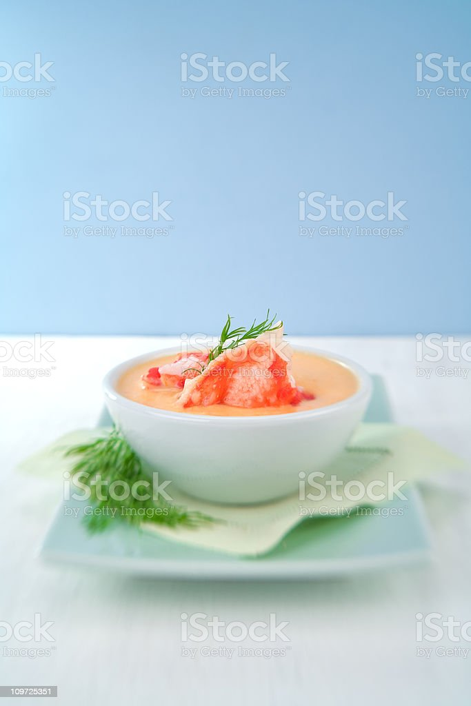 Crab Bisque Soup on Plate stock photo