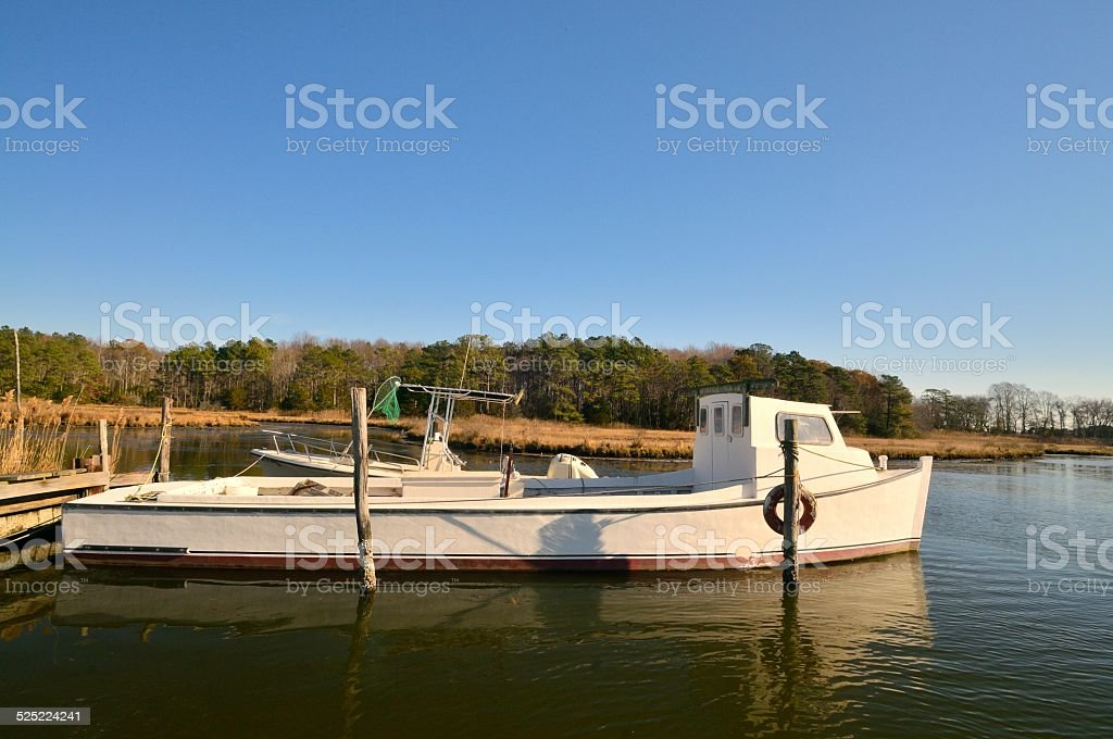 Crab Boat In Harbor On Maryland Eastern Shore stock photo