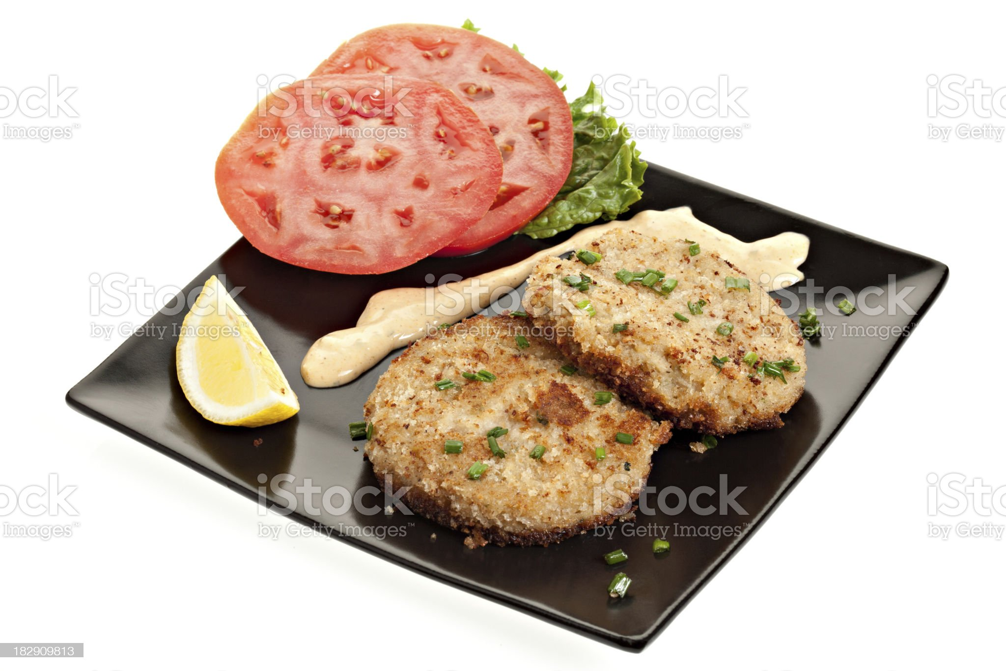 Crab Cake and Remoulade royalty-free stock photo