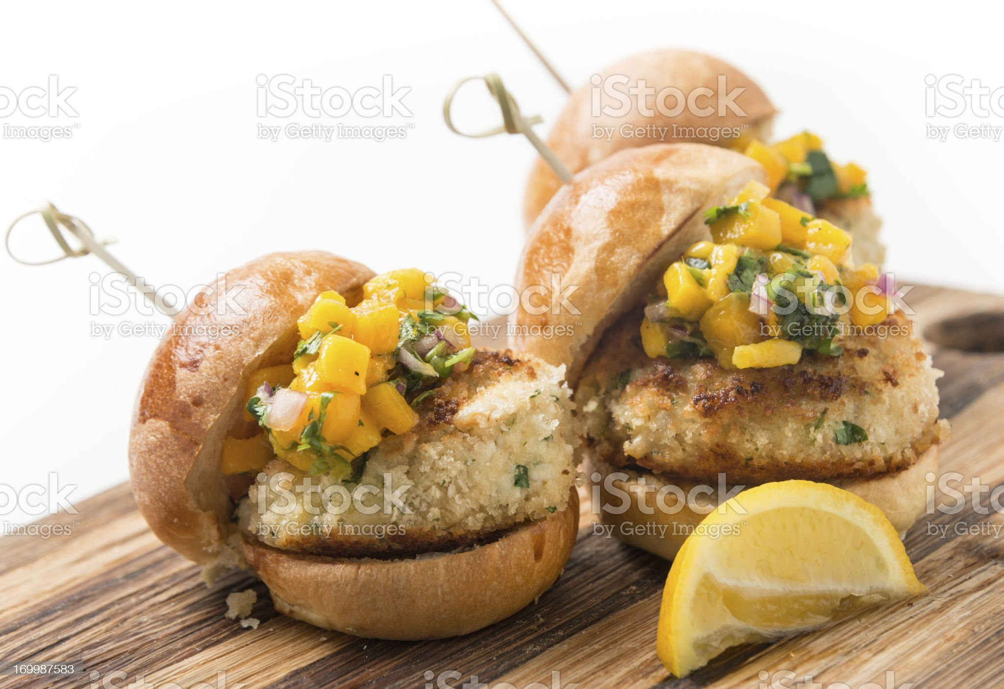 Crab Cake Sliders royalty-free stock photo