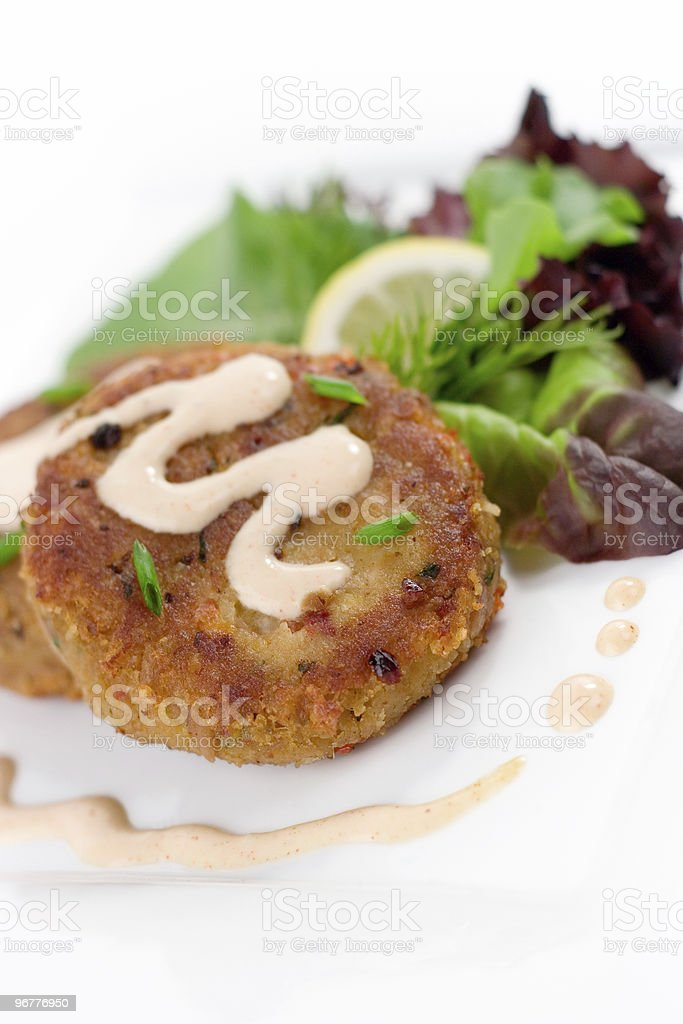 Crab Cake with Sauce stock photo