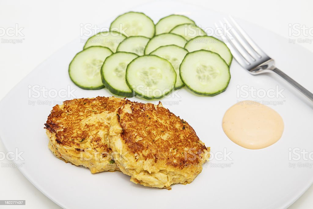 Crab Cakes Cucumbers with Sauce and Fork royalty-free stock photo