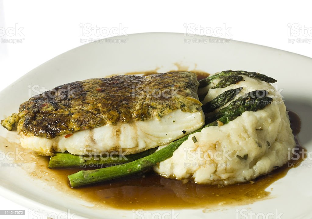 Crab Crusted fillet of Halibut (merluza) royalty-free stock photo