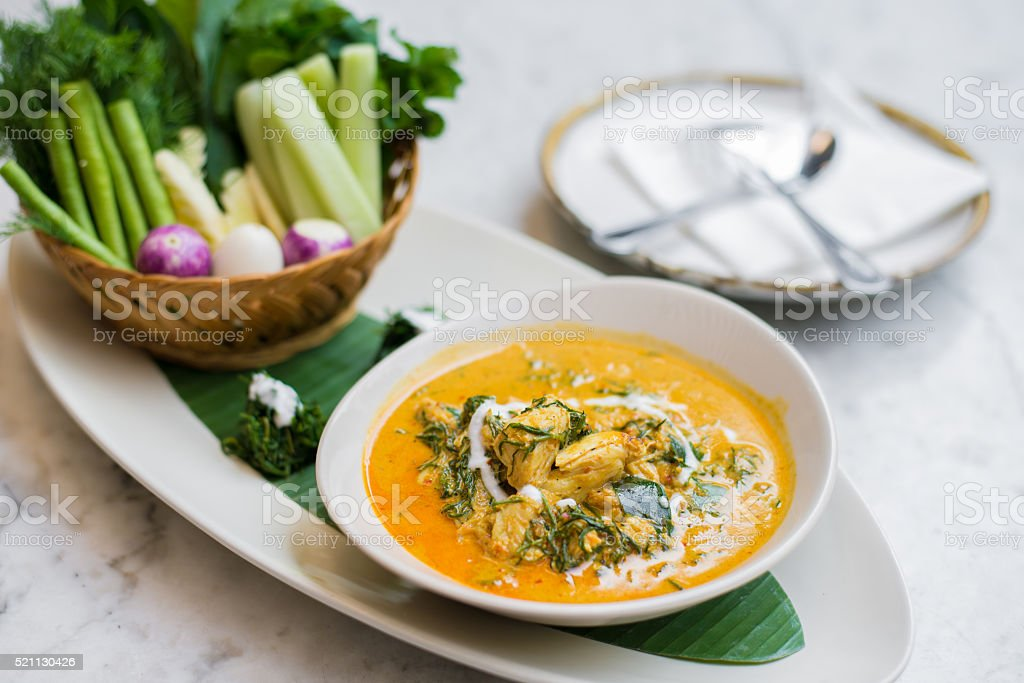 crab curry, crab curry mixed herb stock photo