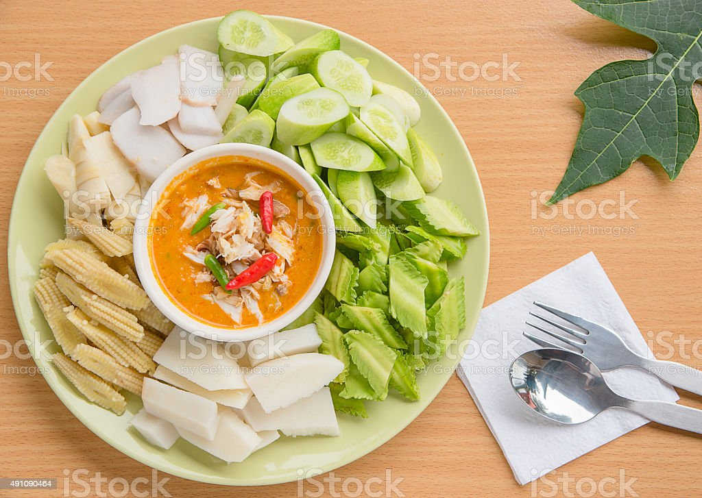 crab curry egg Thai seafood stock photo
