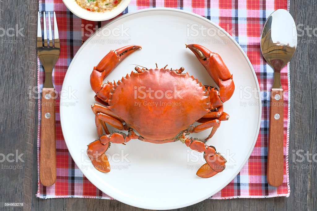 Crab food with sauce spicy stock photo