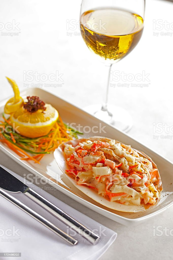Crab Food With Wine royalty-free stock photo