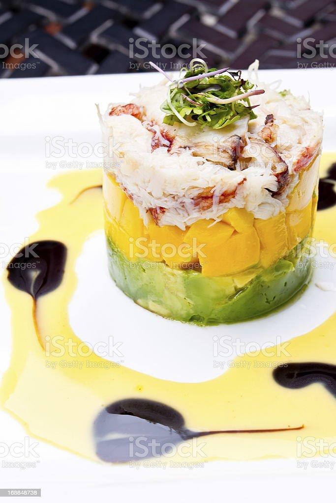 Crab, Mango and Avocado Appetizer royalty-free stock photo