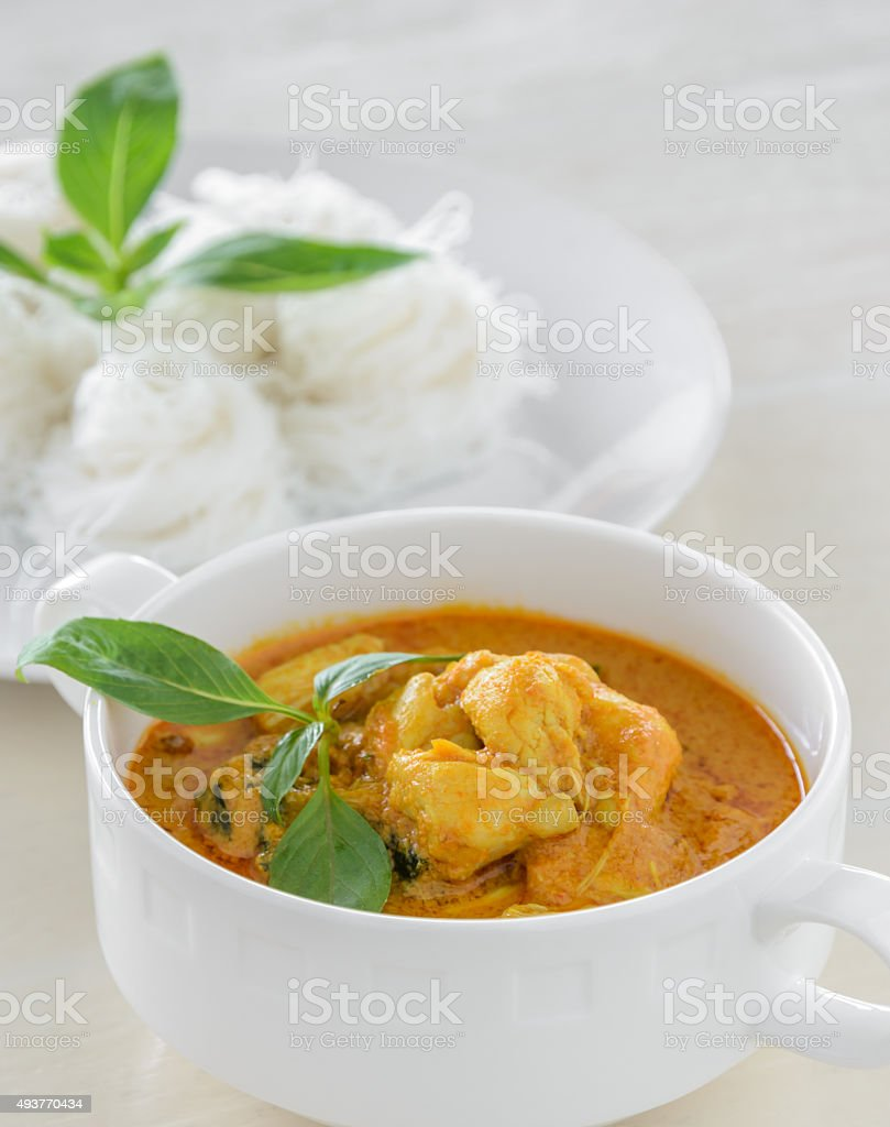 Crab meat curry with rice noodle stock photo