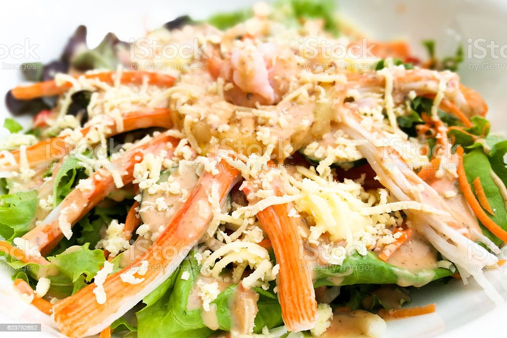 Crab meat vegetable Salad stock photo