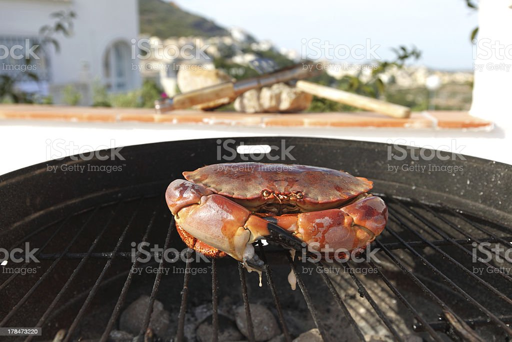 crab on charcoal grill royalty-free stock photo