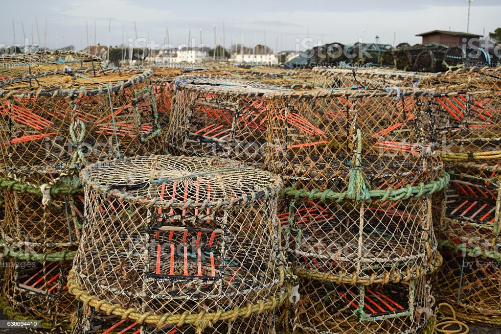 Crab or lobster pots stock photo