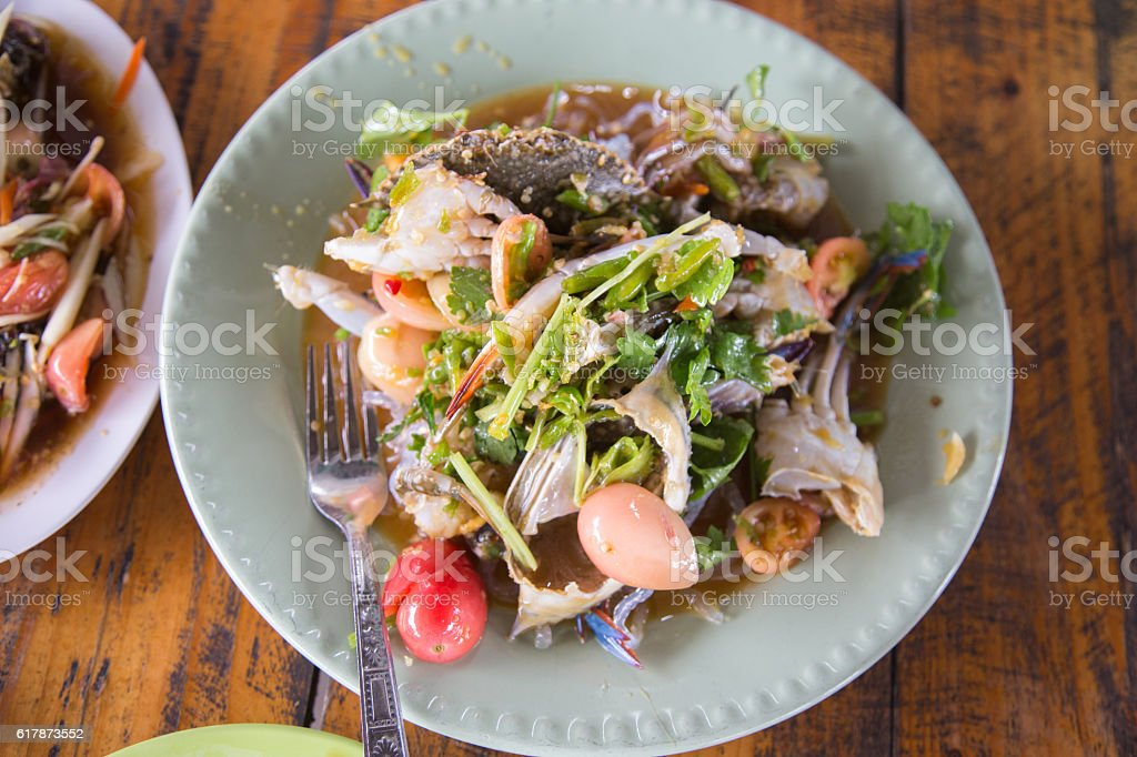 crab papaya salad stock photo