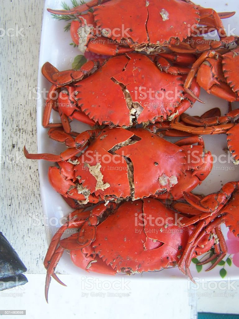 Crab platter stock photo