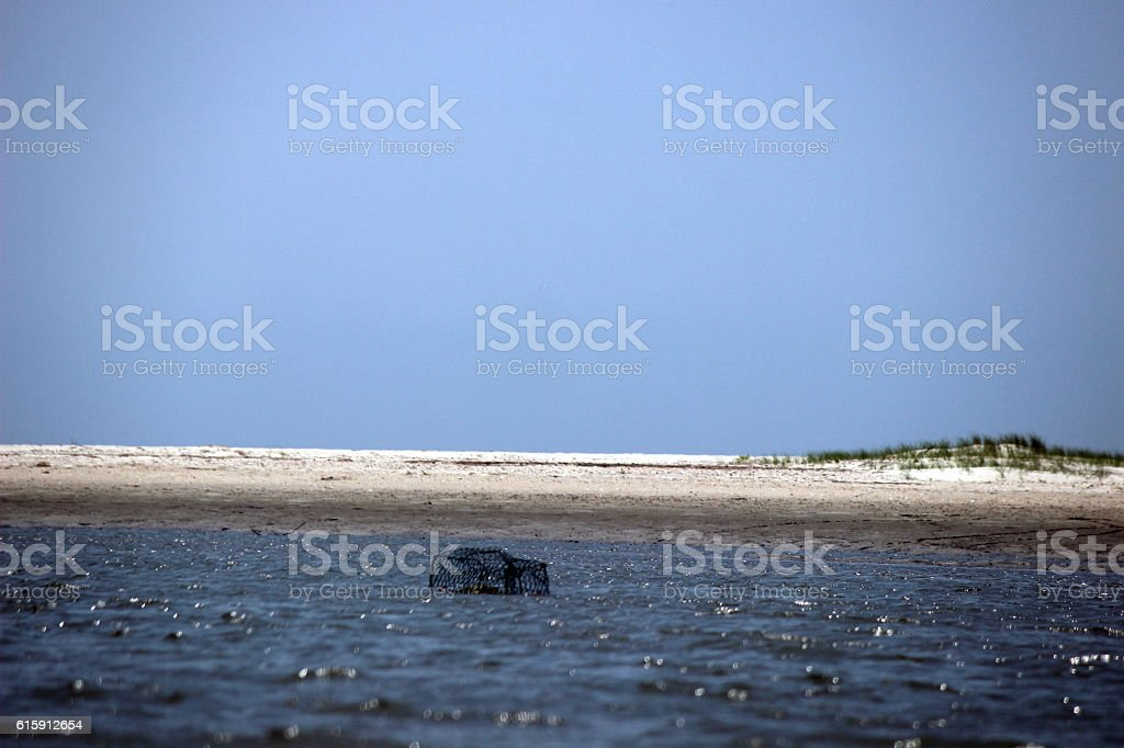 Crab Pot Cage in Intracoastal Waters stock photo