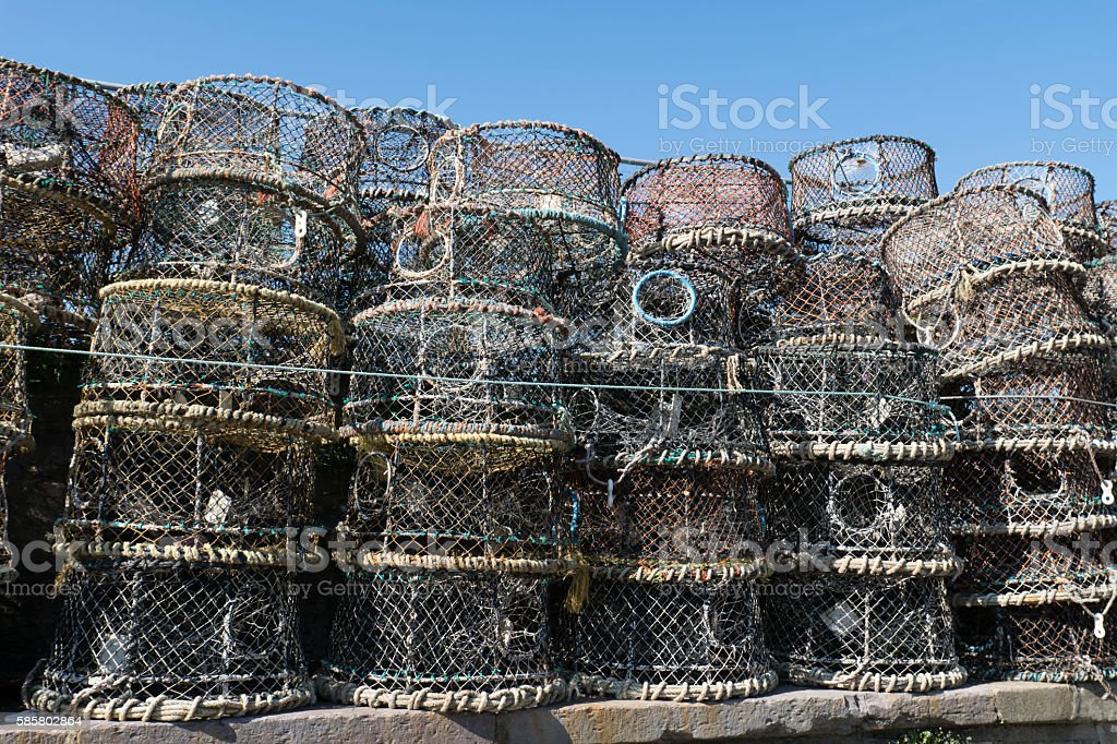 Crab pots at Brixham harbour in Devon stock photo