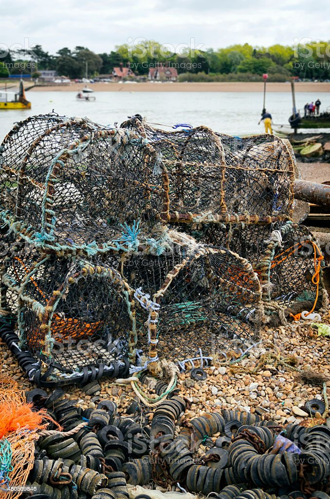 Crab pots by the Deben estuary stock photo