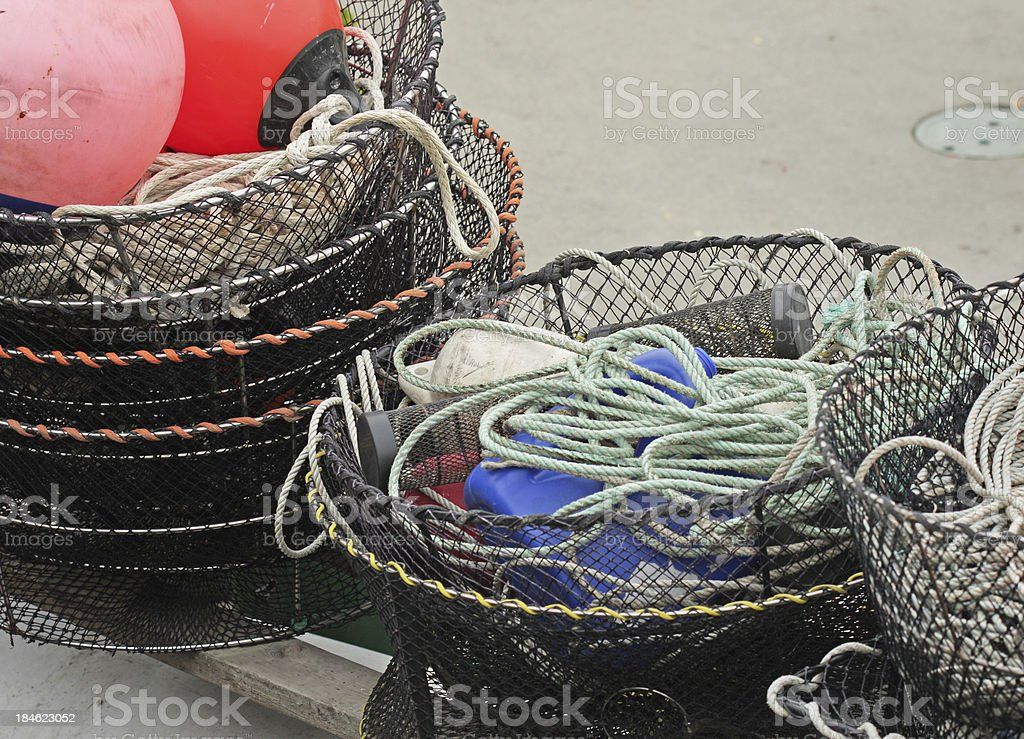 Crab Pots on a Dock in Vancouver, British Columbia, Canada stock photo