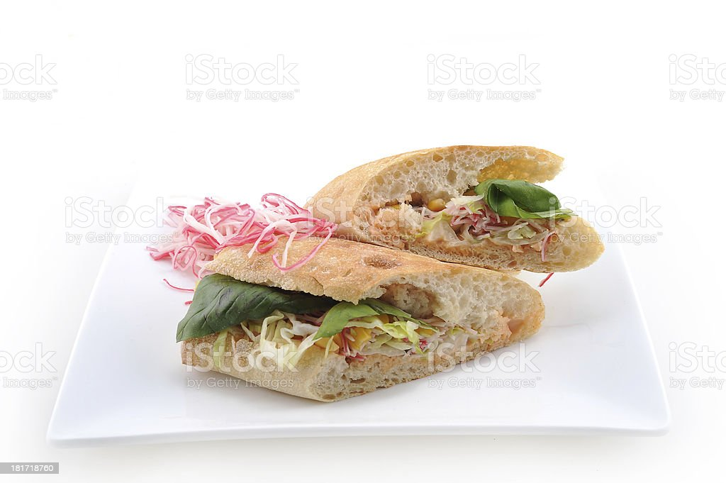 Crab sandwich with veggies royalty-free stock photo