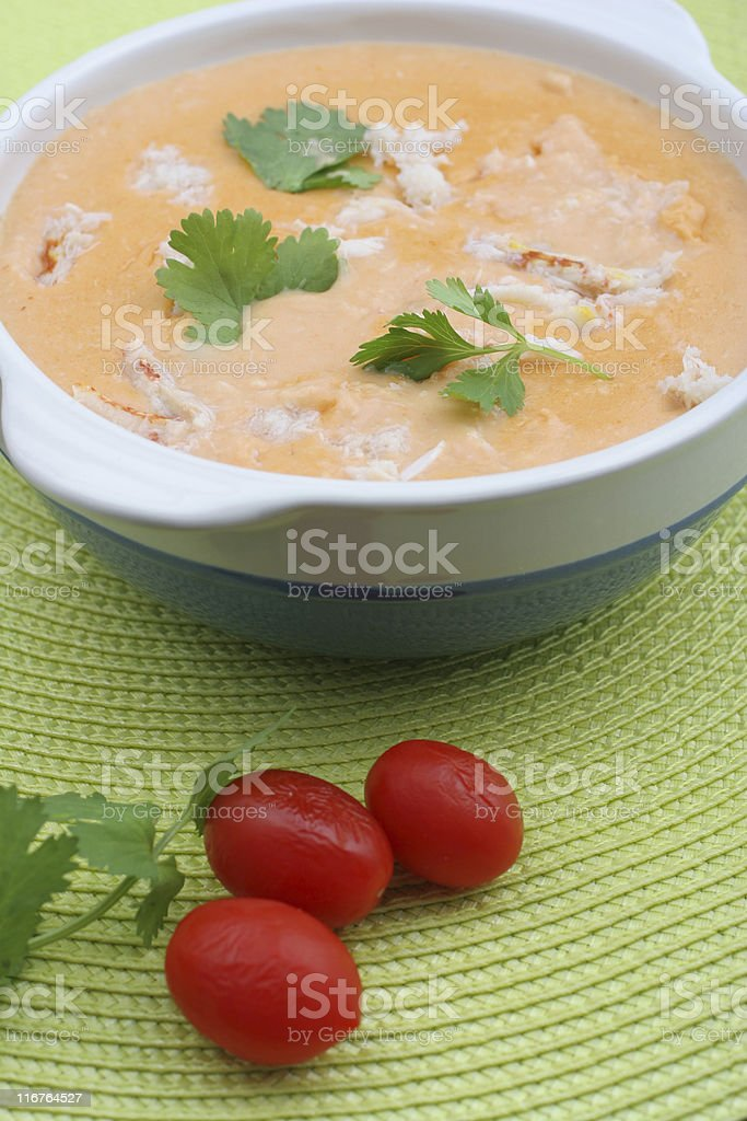 crab soup in a bowl stock photo