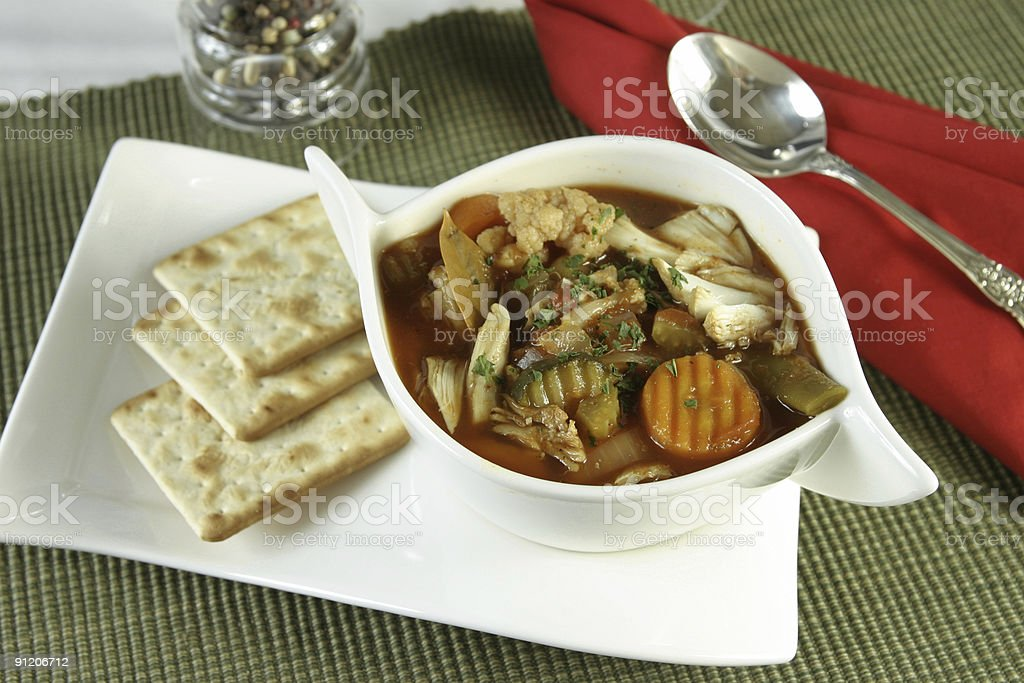 Crab soup with crackers stock photo