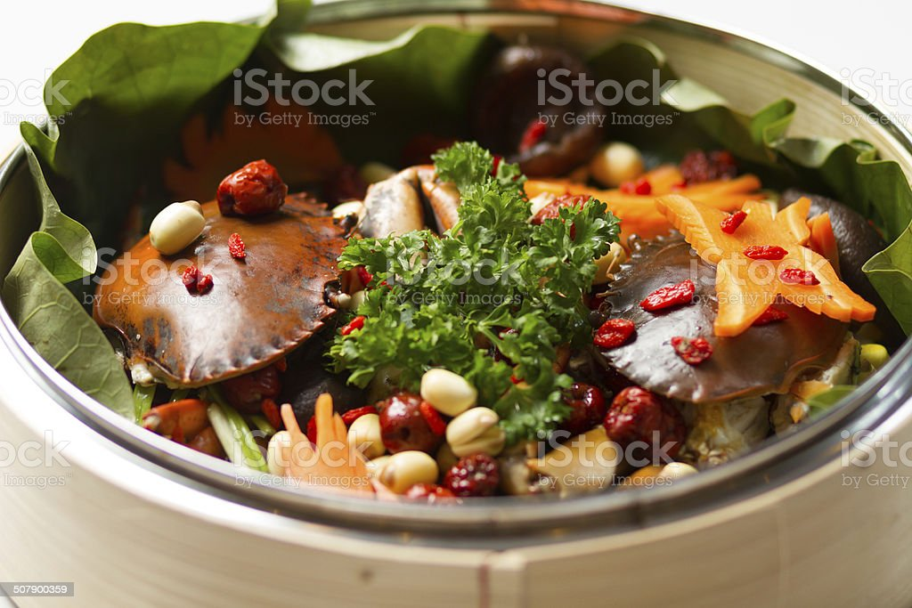 crab stewed with lotus seeds stock photo