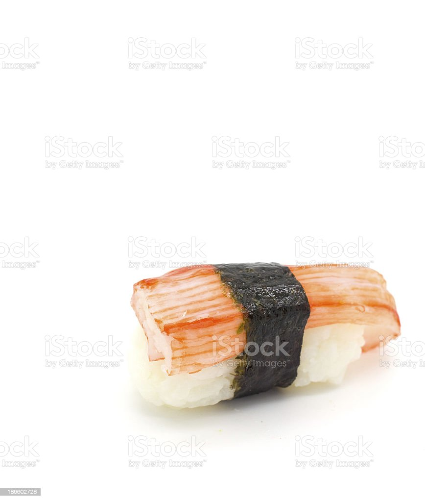 Crab stick Nigiri Sushi isolated on white. stock photo