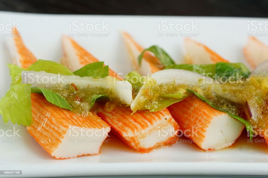 Crab stick spicy salad stock photo