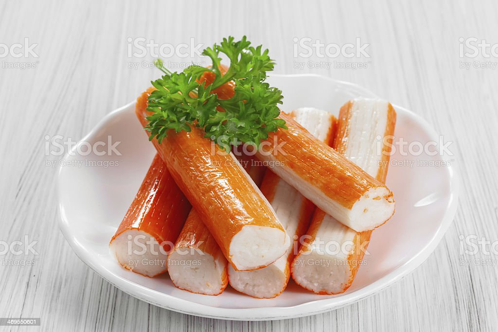 Crab sticks on a platter stock photo