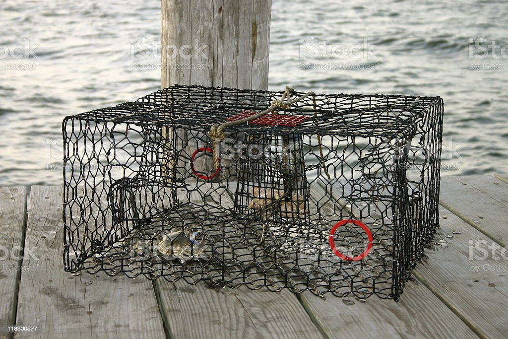 Crab trap sitting on the dock stock photo