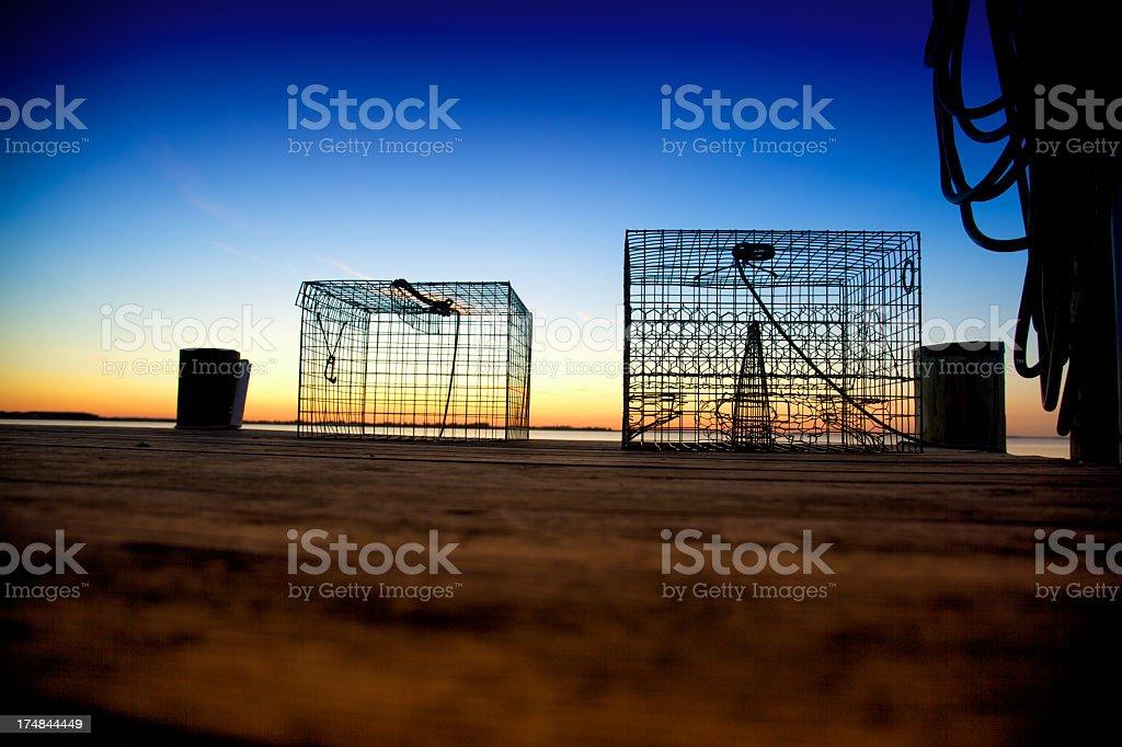 Crab Traps Sunrise Dock Maryland Chesapeake Bay Wye River stock photo