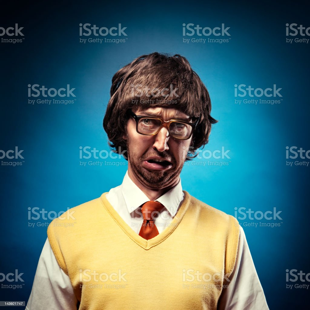Crabby Nerd Student Making a Pouting Face royalty-free stock photo
