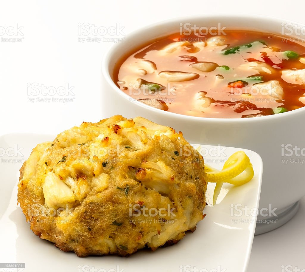 Crabcake with Crab Soup stock photo