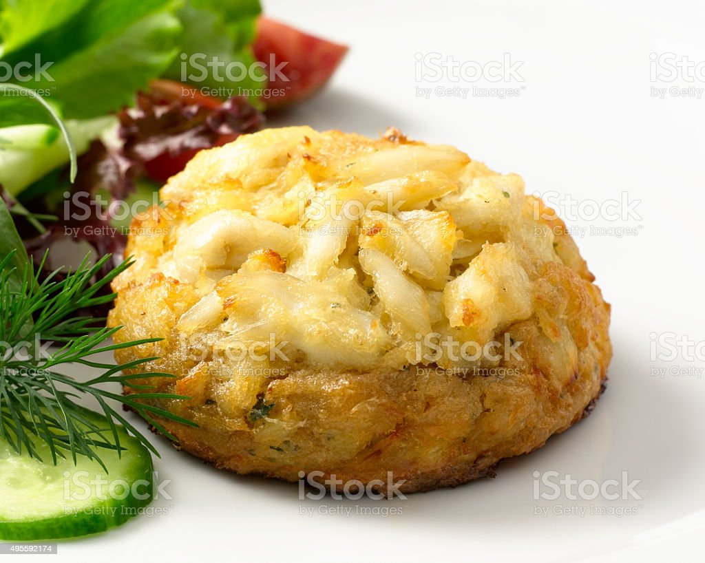 Crabcake with Salad stock photo