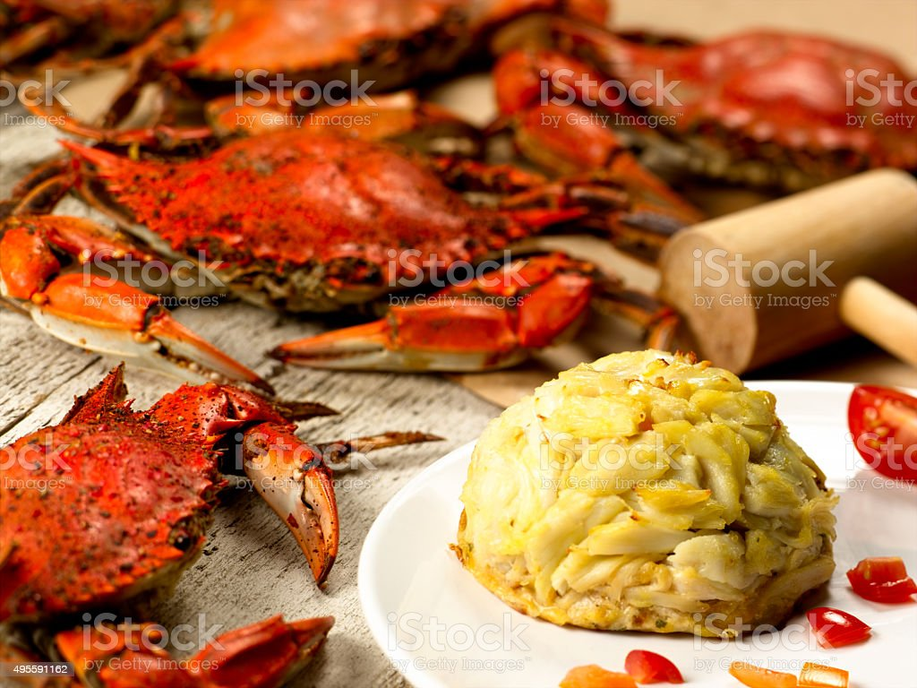 Crabcake with Steamed Crabs stock photo