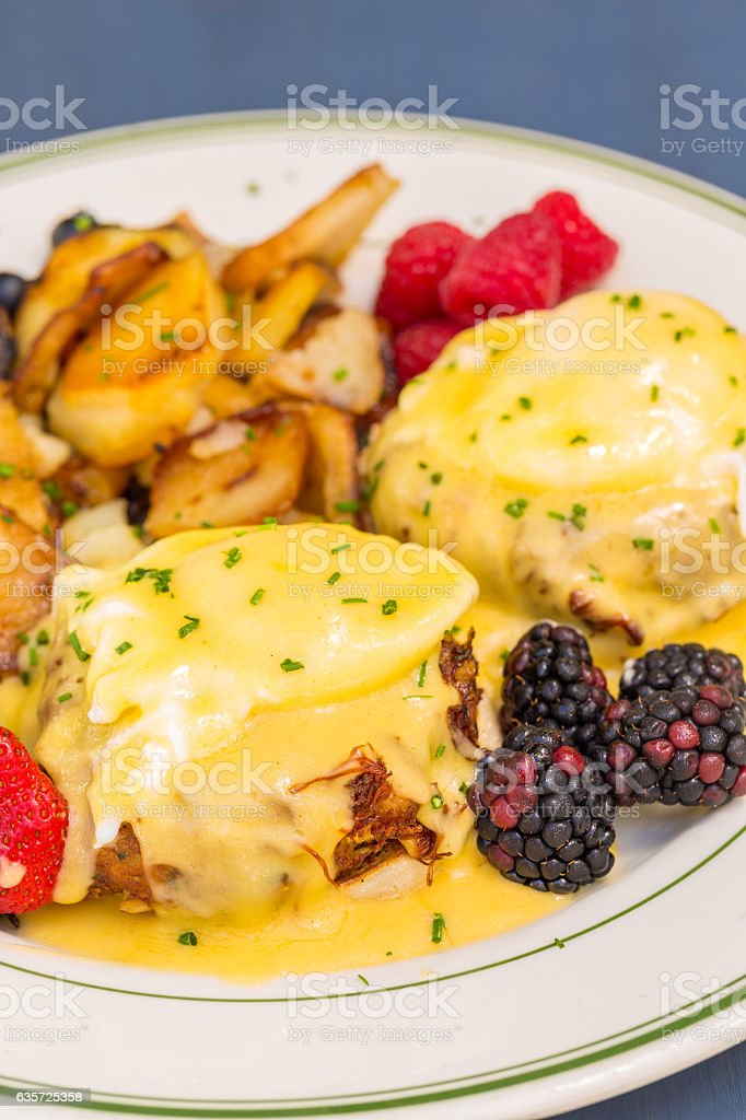 Crabcakes Benedict stock photo