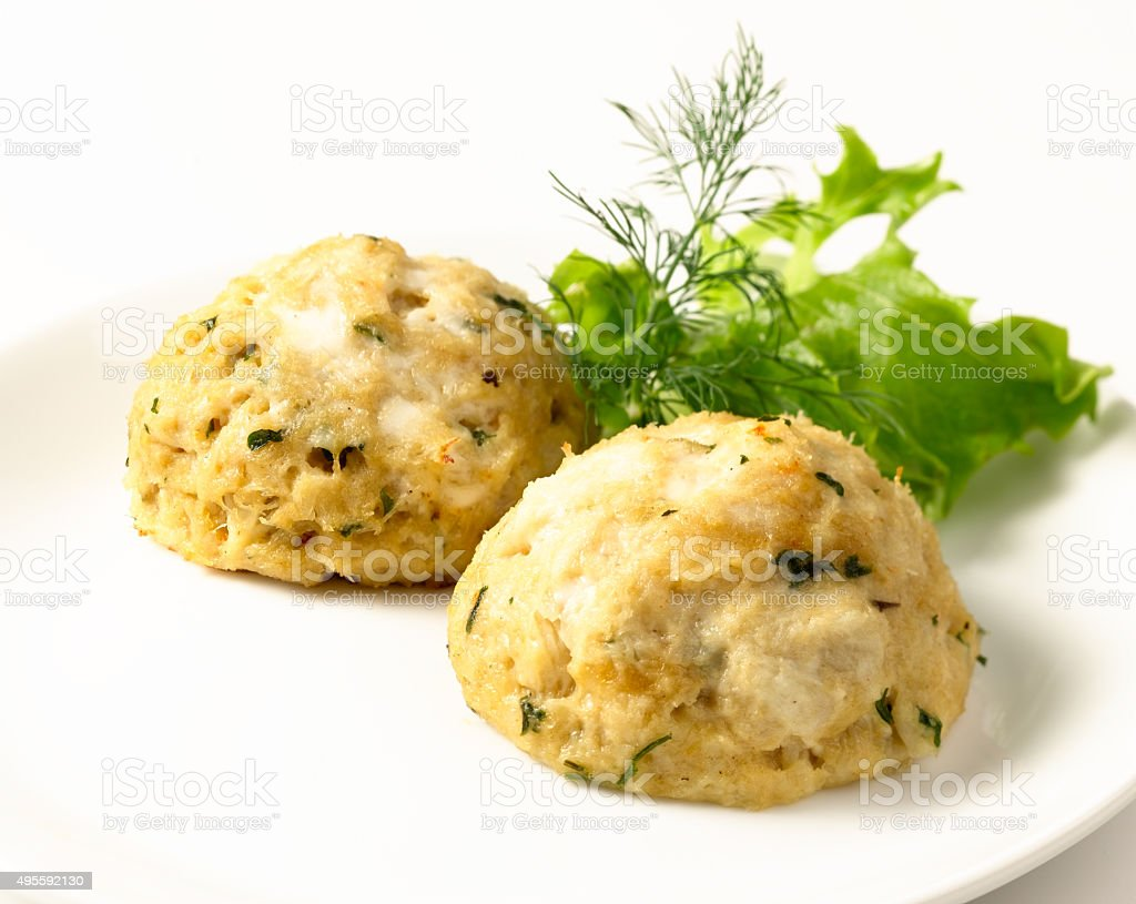 Crabcakes with Lettuce stock photo