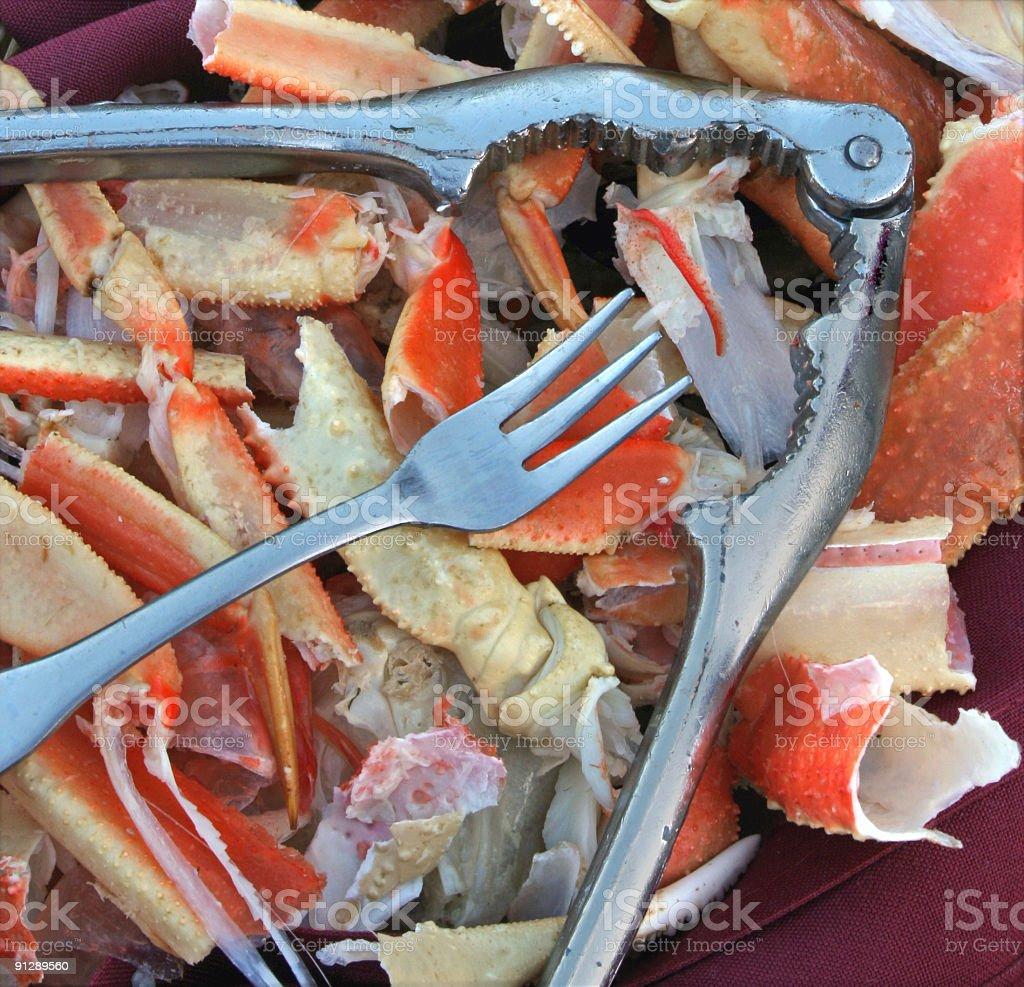 Crableg shells stock photo