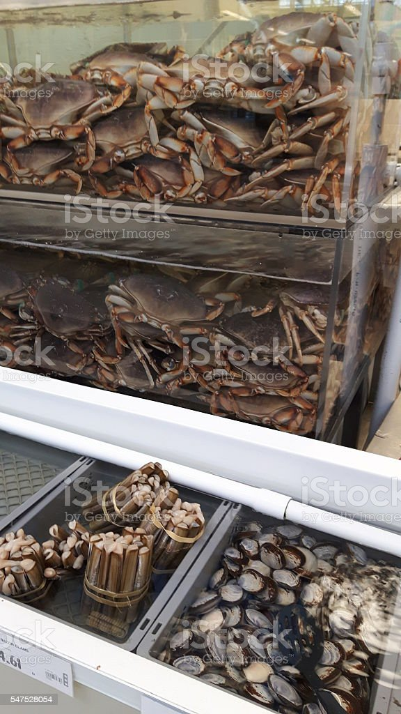 Crabs clams and mussels stock photo