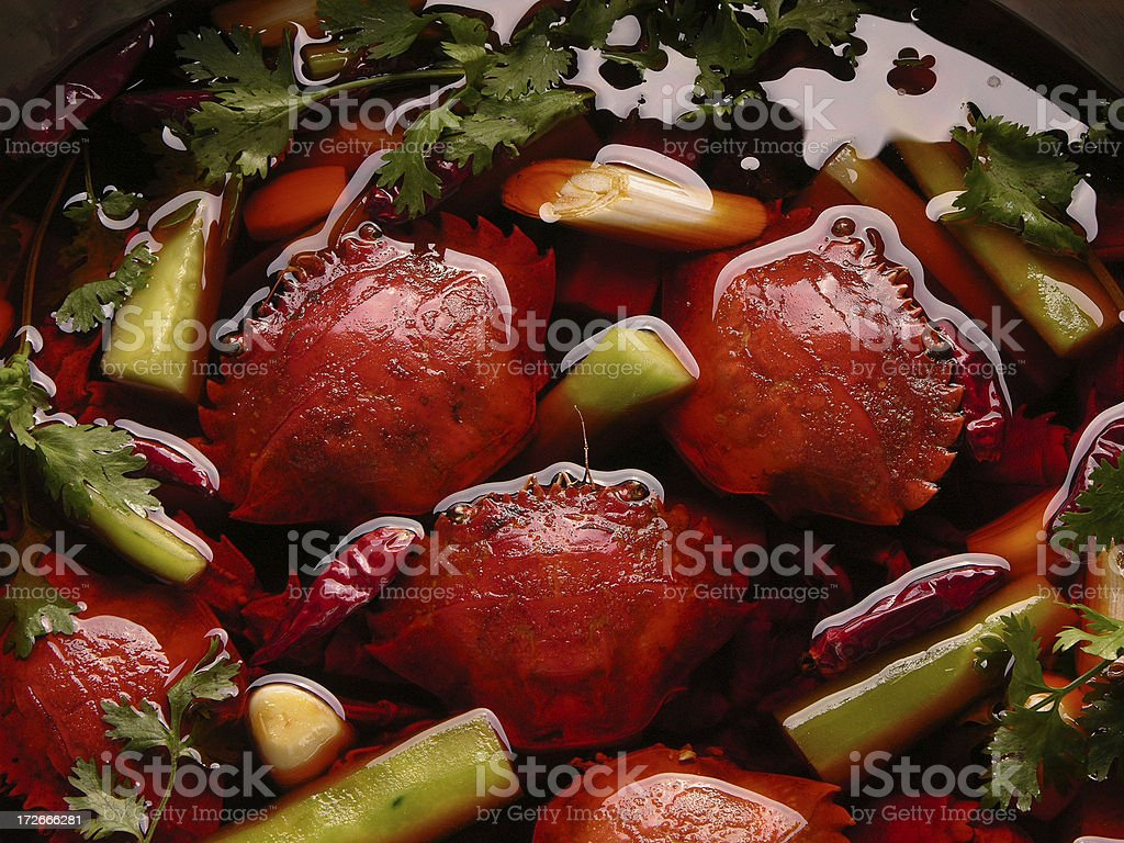 Crabs in sharp flavor oil (Sichuan cooking, China) stock photo