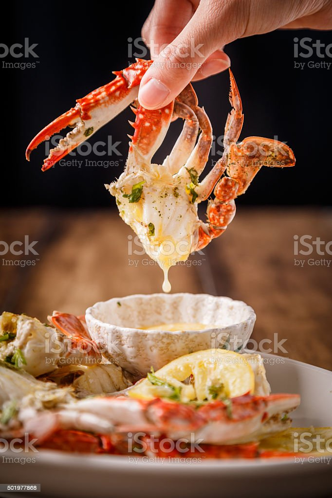 crabs on the wooden table stock photo