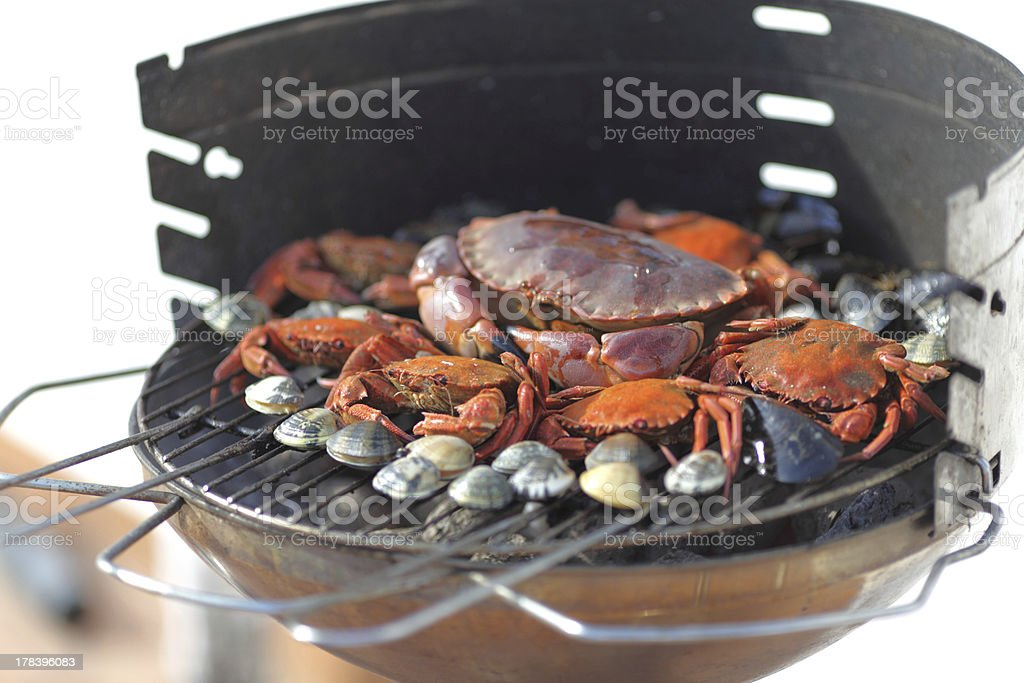 crabs shrimps on charcoal grill royalty-free stock photo
