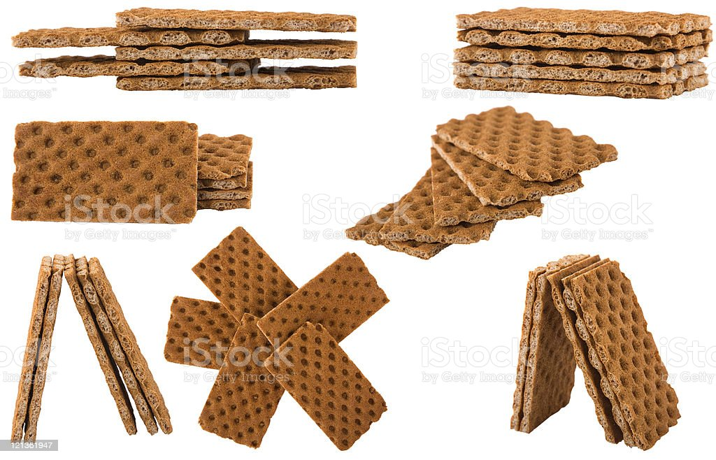 crack bread arranged in different shape stock photo