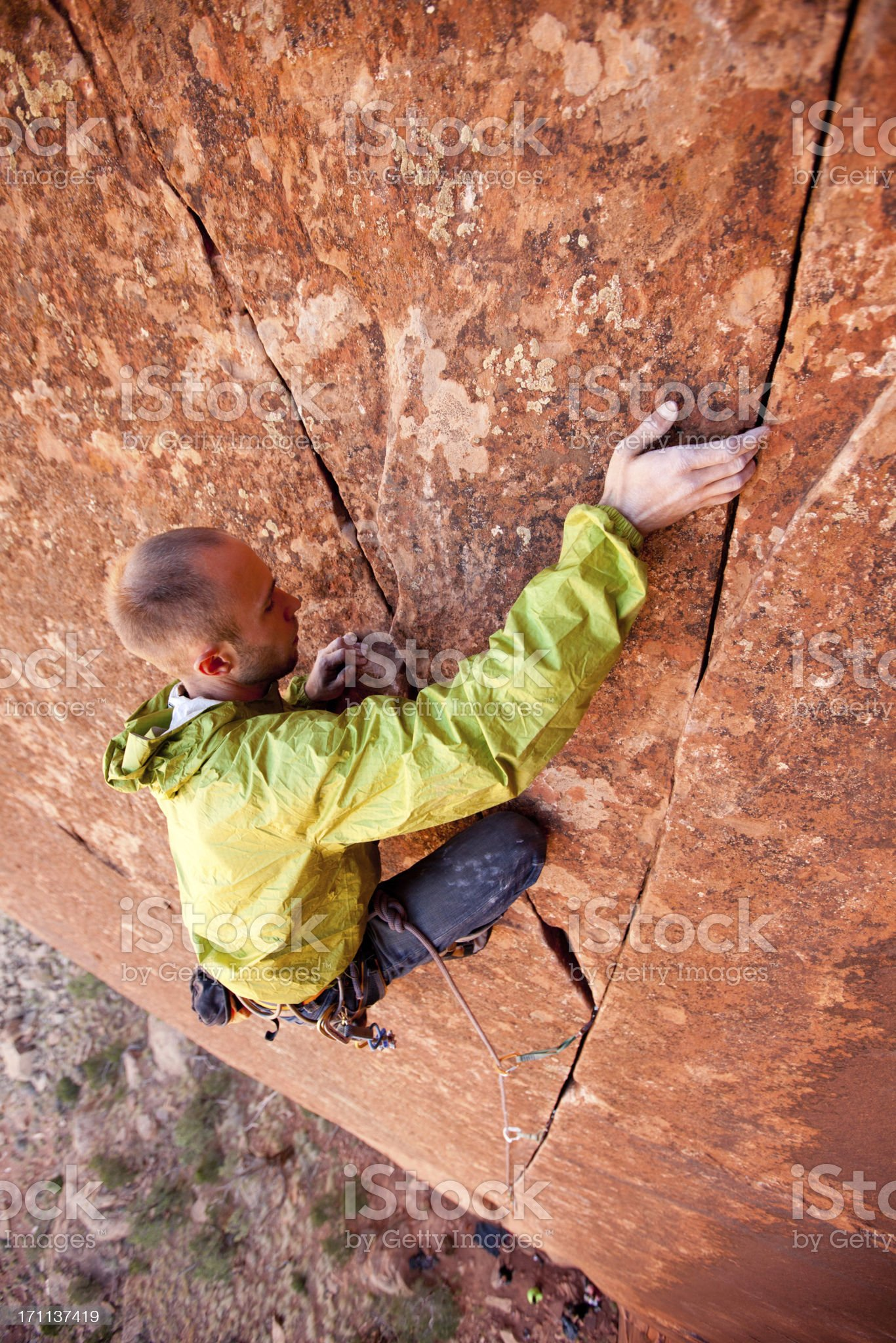 Crack Climbing in Utah at Indian Creek royalty-free stock photo