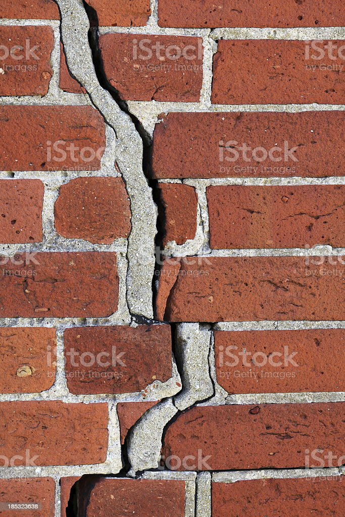 Crack in a brick wall. stock photo
