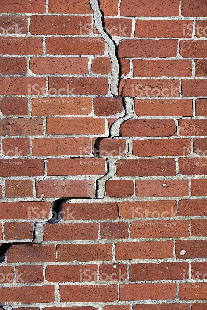 Crack in brick wall. stock photo