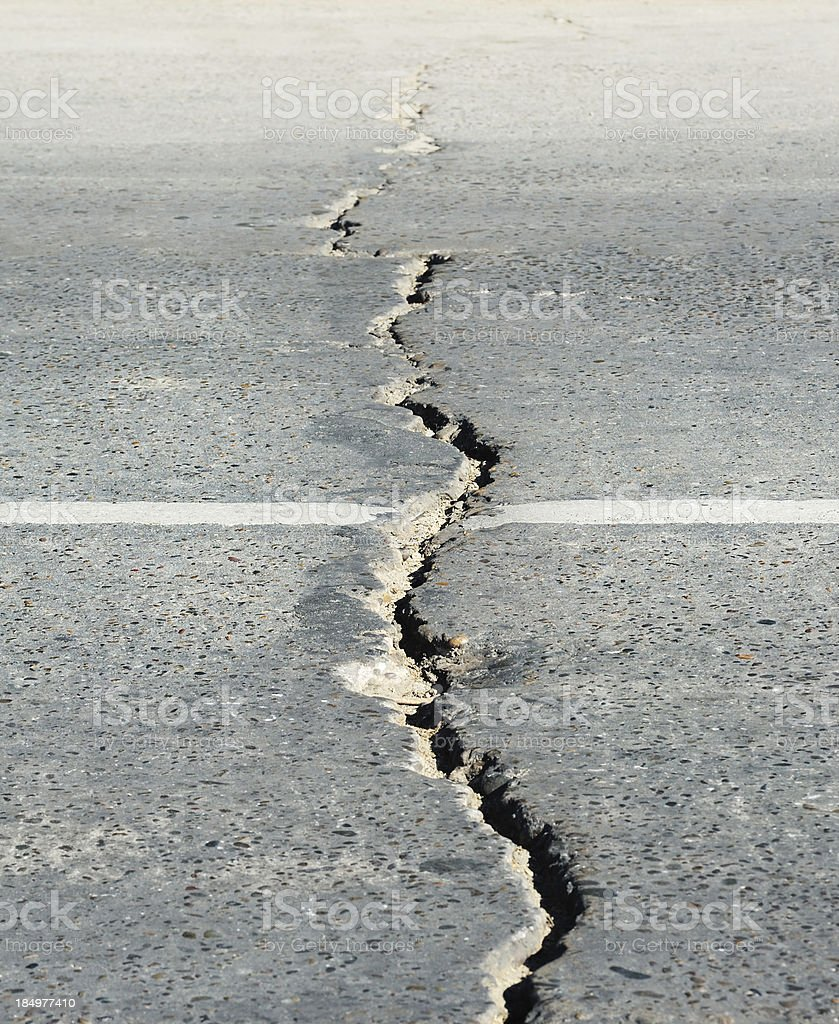 Crack in the street stock photo