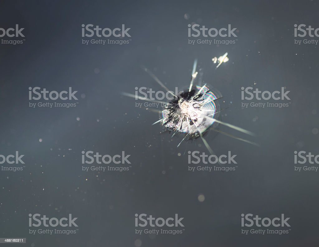 Crack in windshield. stock photo