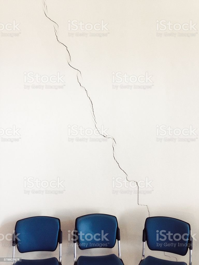 Crack looks like a chart or a graph moving down stock photo