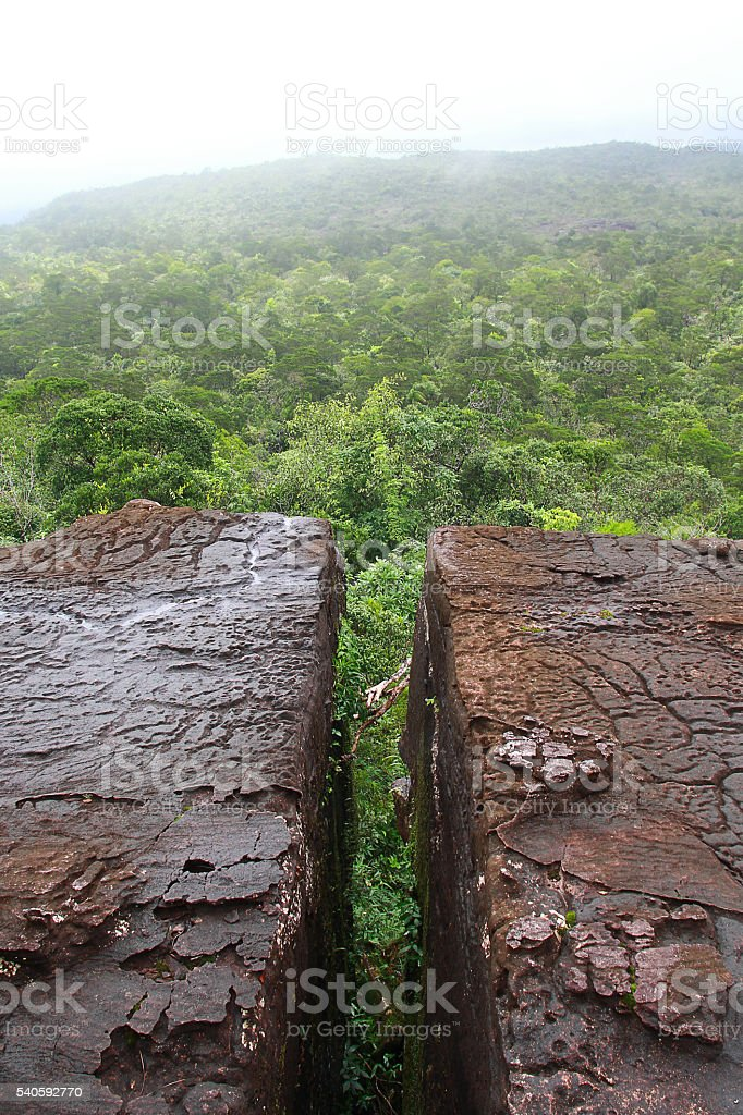 Crack of the moutain in Bokor nation park stock photo